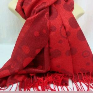New red bubble print cashmere wrap
